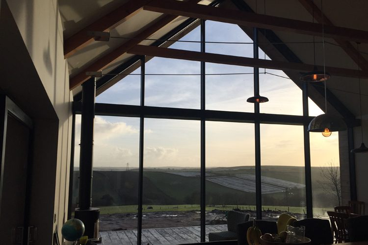 Residential living room with Cornish countryside views - Residential Architects in Cornwall, Truro