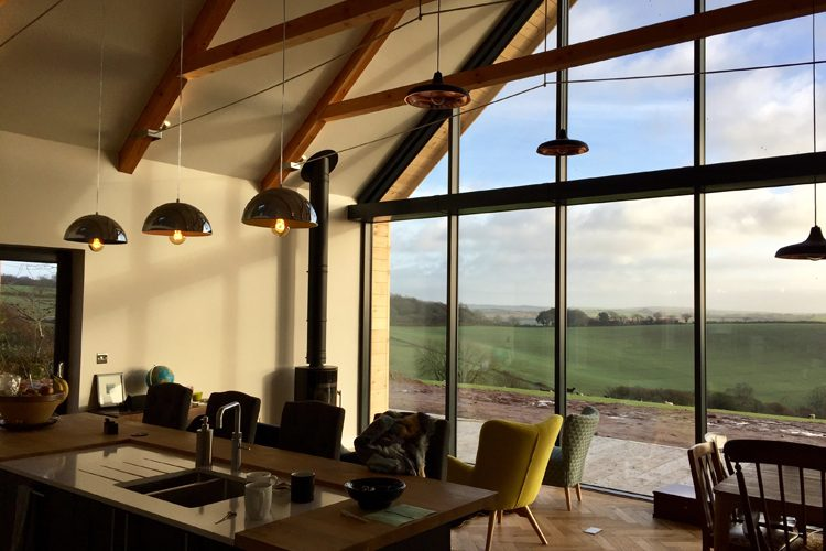 Residential kitchen and living space with countryside views, Residential Architects in Cornwall, Truro